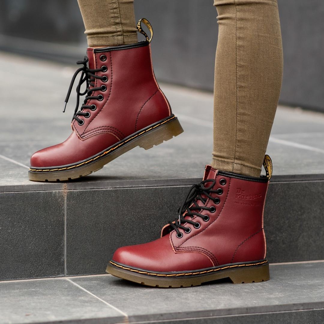 Ботинки зимние Dr. Martens (Мех), зимние бордовые ботинки Мартенс (Реплика ААА)