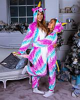 Пижама женская (новогодний костюм) кигуруми полосатый единорог