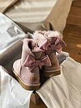 Женские Ugg Mini Bailey Bow (pink), женские зимние розовые угги (Реплика ААА), фото 9