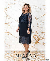Ошатне плаття прямого крою, декороване блискучим мереживом з 50 по 64 розмір, фото 2