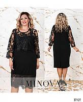 Ошатне плаття прямого крою, декороване блискучим мереживом з 50 по 64 розмір, фото 6
