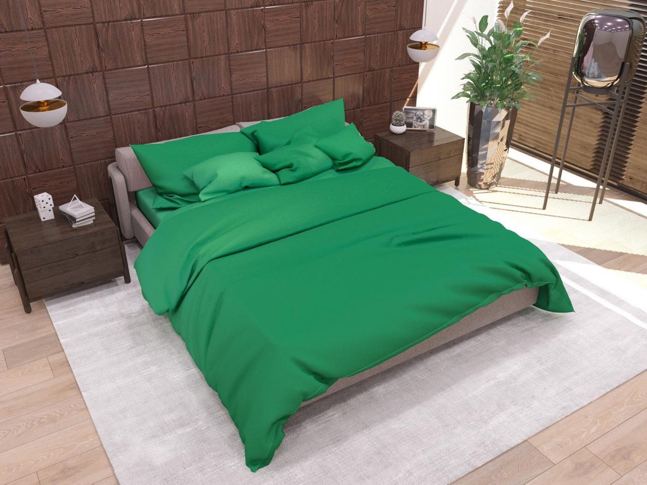 """Комплект постельного белья ТМ """"Ловец снов"""", Однотонный зеленый"""
