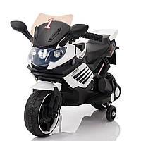 Электромобиль-мотоцикл белый T-7210 EVA WHITE мотор 1*15W аккумулятор 6V4,5AH деткам 2-4 года, рост до 105см