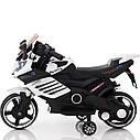 Электромобиль-мотоцикл белый T-7210 EVA WHITE мотор 1*15W аккумулятор 6V4,5AH деткам 2-4 года, рост до 105см, фото 2