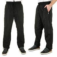 Мужские штаны плащевка на флисе зимние спортивные брюки мужские с начесом, черные