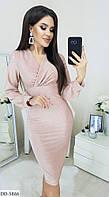 Платье женское длина до колен.Размер: 42, 44, 46, 48 Ткань:люрекс. Цвета-св.Серый,фуксия,пудра. Длина:102 см