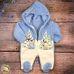 Вильсофтовый спальник, новогодней тематики, с капюшоном для малыша  Размеры: от 2 до 6 месяцев (9343)