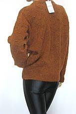 Жіночий в'язаний светр гірчичного кольору, фото 3