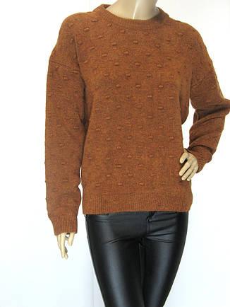 Жіночий в'язаний светр гірчичного кольору, фото 2