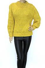 Жіночий грубої вязки светр жовтого кольору, фото 2