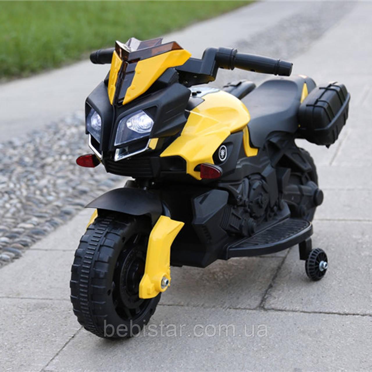 Электромобиль-мотоцикл Т-7218 EVA YELLOW мотор 1*15W аккумулятор 6V4,5AH деткам 2-4 года рост до 105см