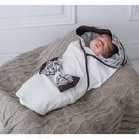 """Трикотажный плед для новорожденных MagBaby """"Изысканность"""" коричневый"""
