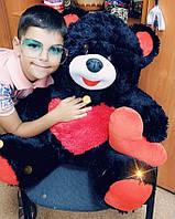 Медведь Улыбка, сидячий с сердцем, черно-красный, 55см (439011)