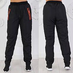 Штаны плащевка на флисе женские утепленные брюки зимние прямые, черные