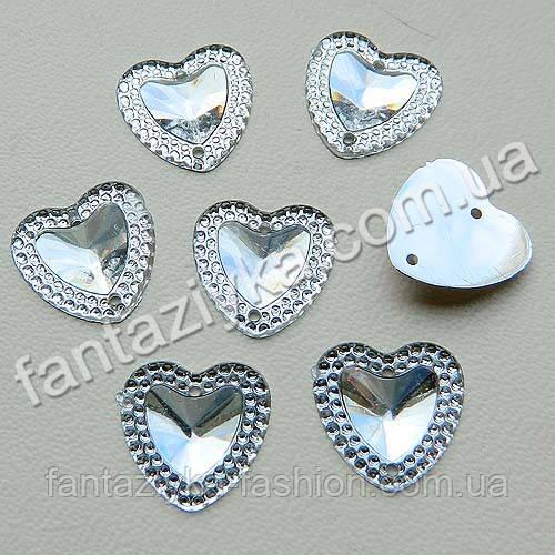 Камень пришивной Сердце с каймой 14мм, прозрачное