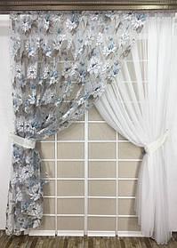 Комплект тюлей Хризантема (2шт 300*270см и подхваты)