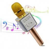 Микрофон-караоке Q9 в чехле золотой