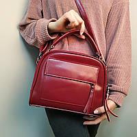 "Женская кожаная сумка-саквояж  ""Элизавет Red Wine"", фото 1"