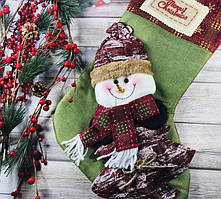 Носок рождественский большой для подарков Снеговик 46х21см