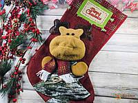 Носок рождественский красный Олень большой для подарков 46х21см
