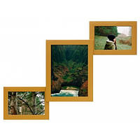 Деревянная мультирамка для фото 3 в 1 Руноко Лесенка-мини Золото