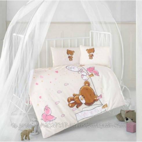 Детское постельное белье в кроватку Aran Clasy Teddy Pink ранфорс