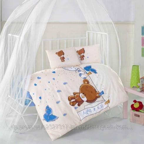 Дитяче постільна білизна в ліжечко Aran Clasy Teddy Blue ранфорс