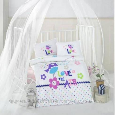 Детское постельное белье в кроватку Aran Clasy Happy Bird ранфорс