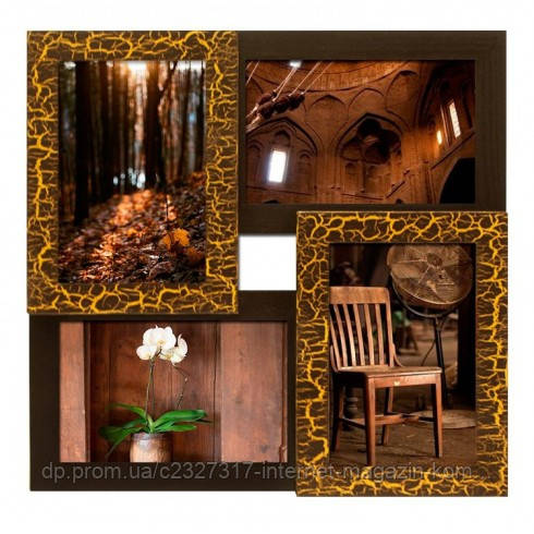 Дерев'яна мультирамка для фото 4 в 1 Руноко-4 Золотий Шоколад