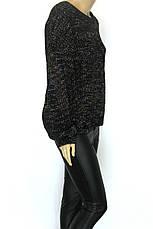 Светр жіночий в'язаний чорний меланж, фото 3