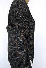 Светр жіночий в'язаний чорний меланж, фото 2
