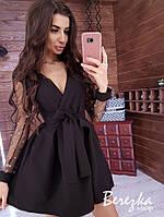 Женское модное платье черное с сеткой, фото 1