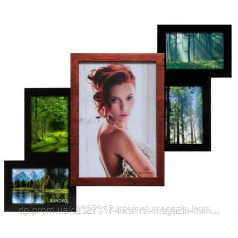 Деревянная мультирамка для фото 5 в 1 Руноко Лесенка-5 Медное Мерцание