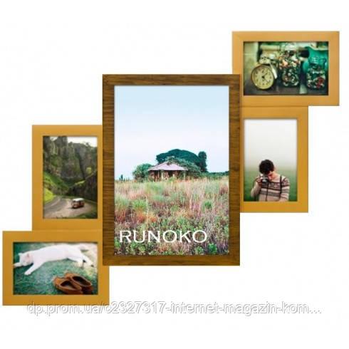 Дерев'яна мультирамка для фото 5 в 1 Руноко Драбинка-5 Подвійне Золото