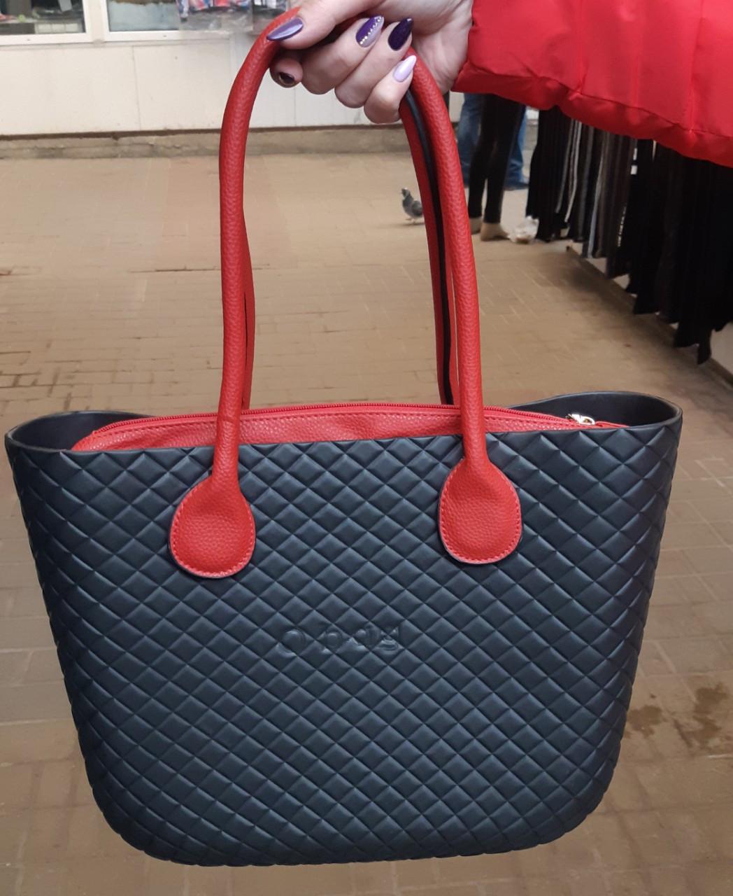 Женская сумка O bag mini в черном  переплете корпуса