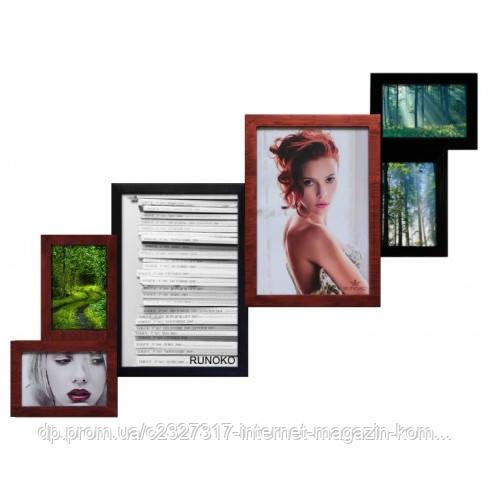 Дерев'яна мультирамка для фото 6 в 1 Руноко Метрова Мідна Мерехтіння