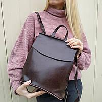 """Женский кожаный рюкзак-сумка(трансформер) """"Анжелика Dark Brown"""", фото 1"""