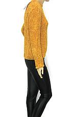 Жіночий короткий велюровий светр гірчично- жотого кольору, фото 3