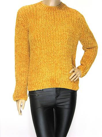 Жіночий короткий велюровий светр гірчично- жотого кольору, фото 2