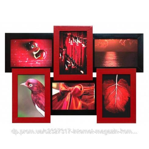 Деревянная мультирамка для фото 6 в 1 Руноко-6 Красное и Черное