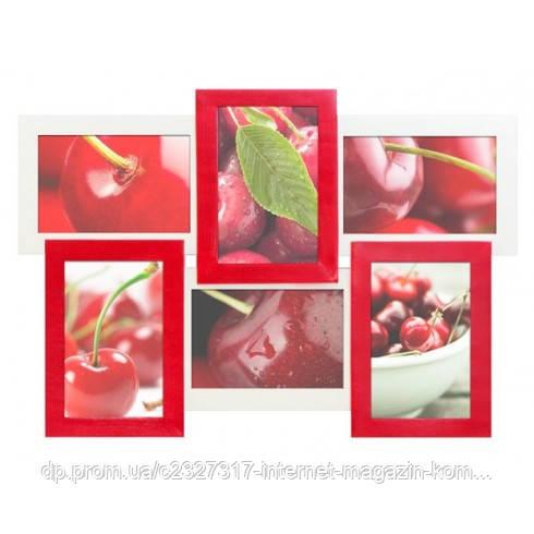 Деревянная мультирамка для фото 6 в 1 Руноко-6 Красное и Белое