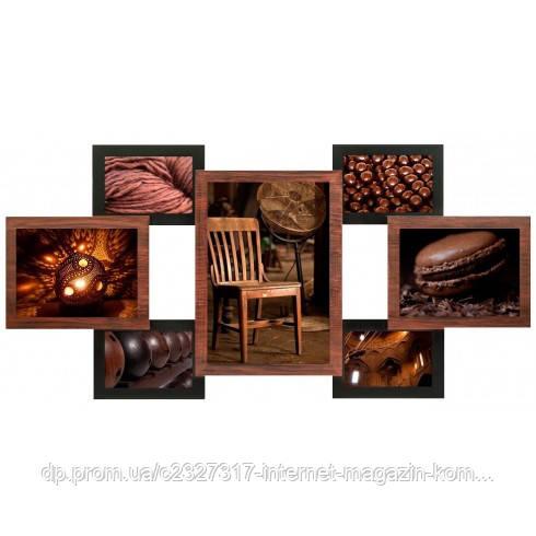 Деревянная мультирамка для фото 7 в 1 Руноко-7 Медное Мерцание