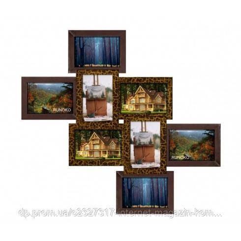 Дерев'яна мультирамка для фото 8 в 1 Руноко Вузлик Золотий Шоколад