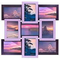 Деревянная мультирамка для фото 9 в 1 Руноко-9 Фиолетовая