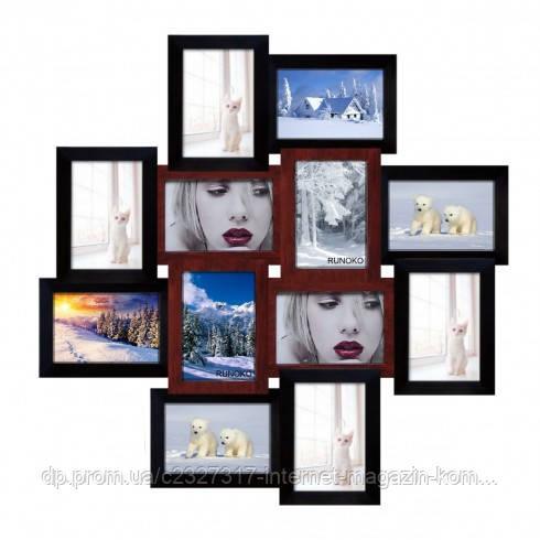 Деревянная мультирамка для фото 12 в 1 Руноко Палермо Медное Мерцание