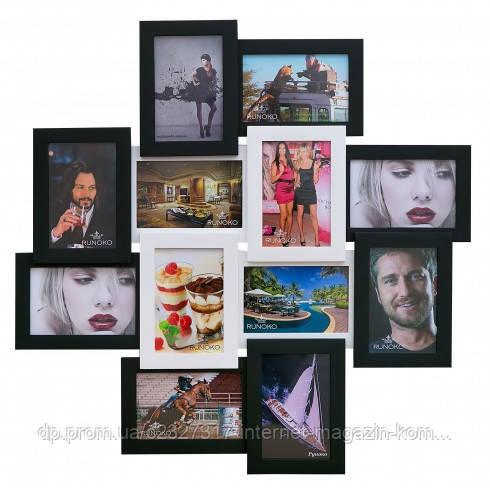 Деревянная мультирамка для фото 12 в 1 Руноко Палермо Белое и Черное