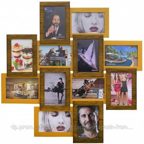 Дерев'яна мультирамка для фото 12 в 1 Руноко Палермо Подвійне Золото