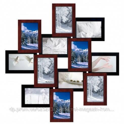 Дерев'яна мультирамка для фото 12 в 1 Руноко Зигзаг Мідна Мерехтіння