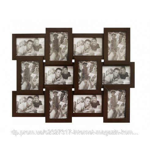 Деревянная мультирамка для фото 12 в 1 Руноко-12 Венге