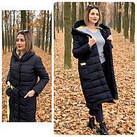 Теплое зимнее пальто,черное с желтым, ткань плащевка, арт. М 032